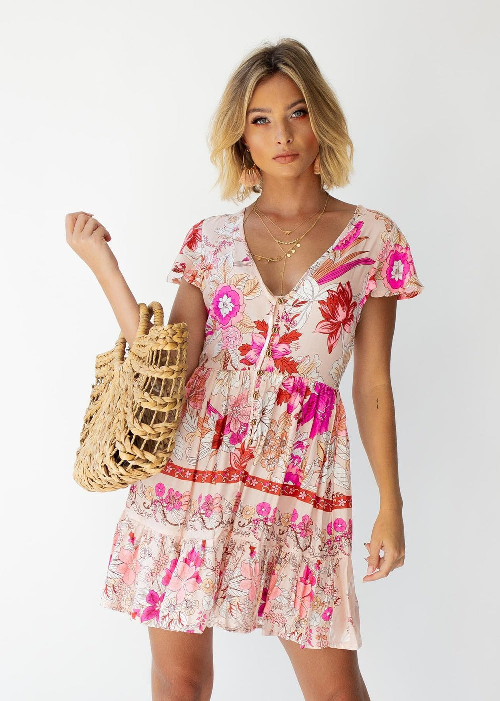Aisha Swing Dress - Soft Peach Floral
