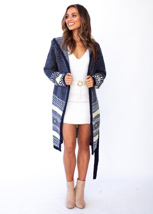 Women's Loyalty Hooded Cardigan - Navy