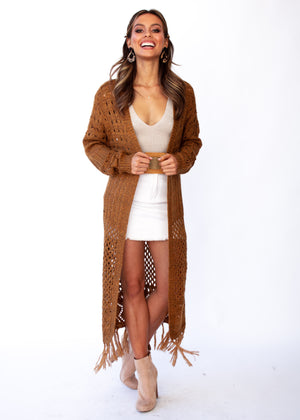 Turning Away Boho Cardigan - Rust