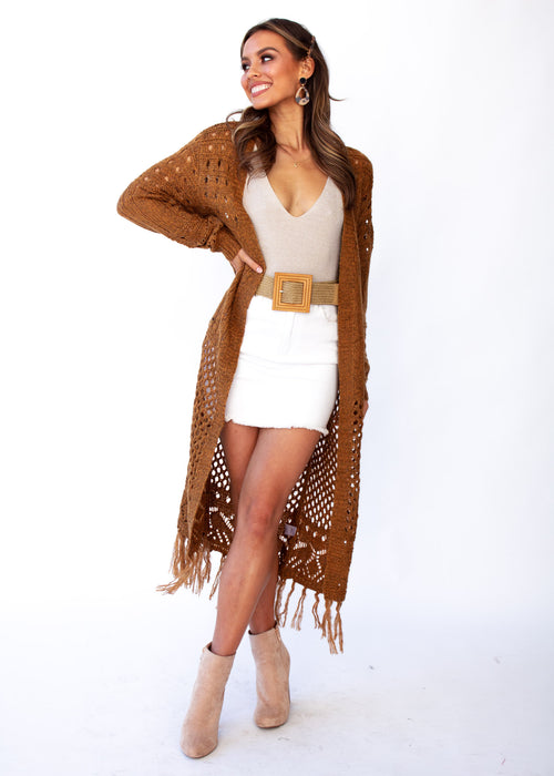 Women's Turning Away Boho Cardigan - Rust