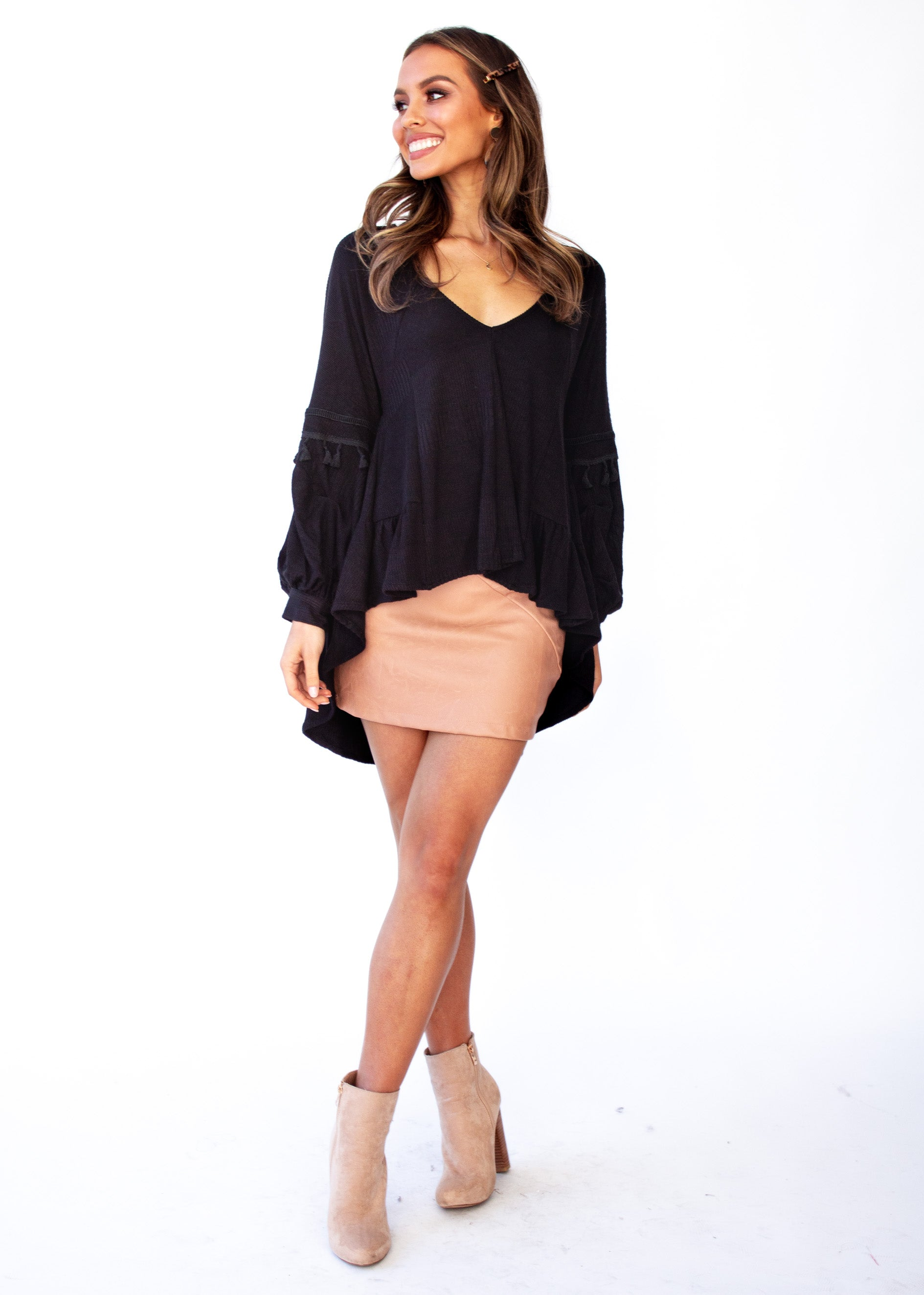Women's Fallon Hi-Lo Blouse - Black