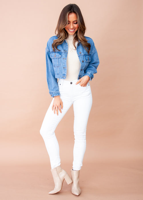 Cosmic Cropped Denim Jacket - Mid Blue