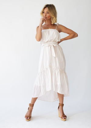 Frankie Hi-Lo Midi Dress - Beige Stripe