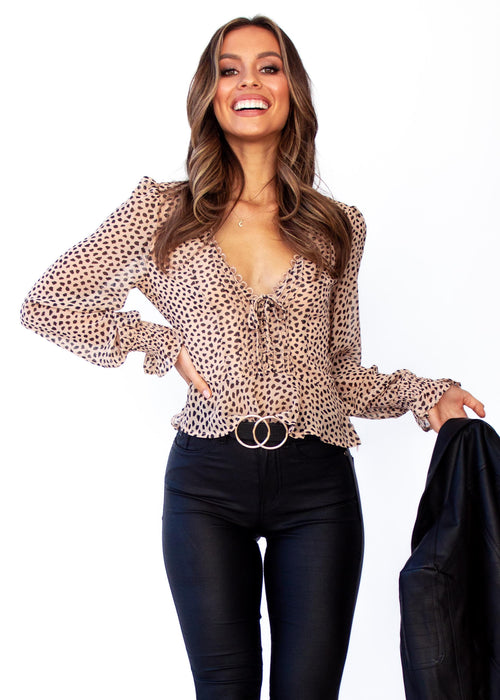 Women's Fancy This Blouse - Nude Leopard