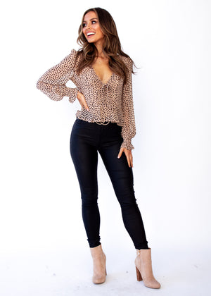 Fancy This Blouse - Nude Leopard