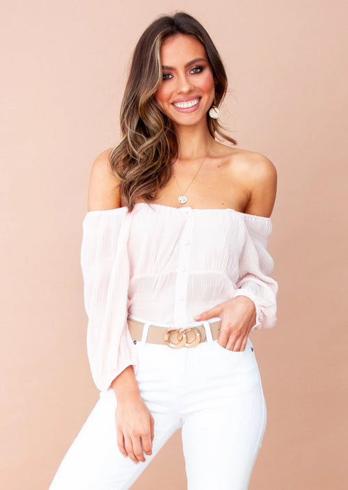 Women's Aurora Cropped Blouse - Blush