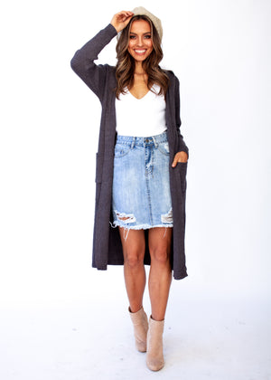 Archie Hooded Cardigan - Charcoal