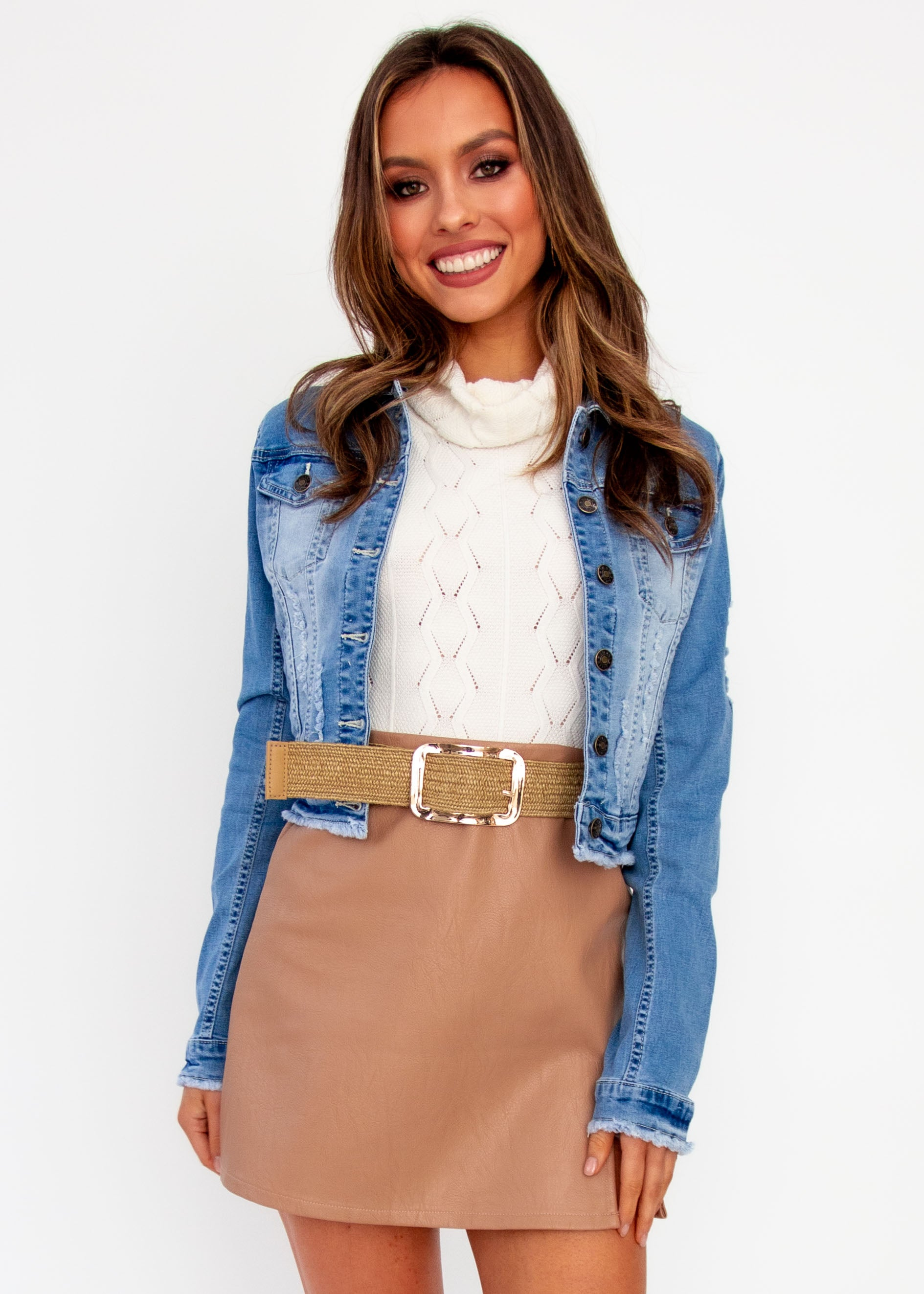 Women's Harli Crop Denim Jacket - Light Denim - Jaase