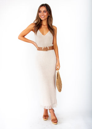 Pampas Knit Maxi Skirt - Oatmeal Natural