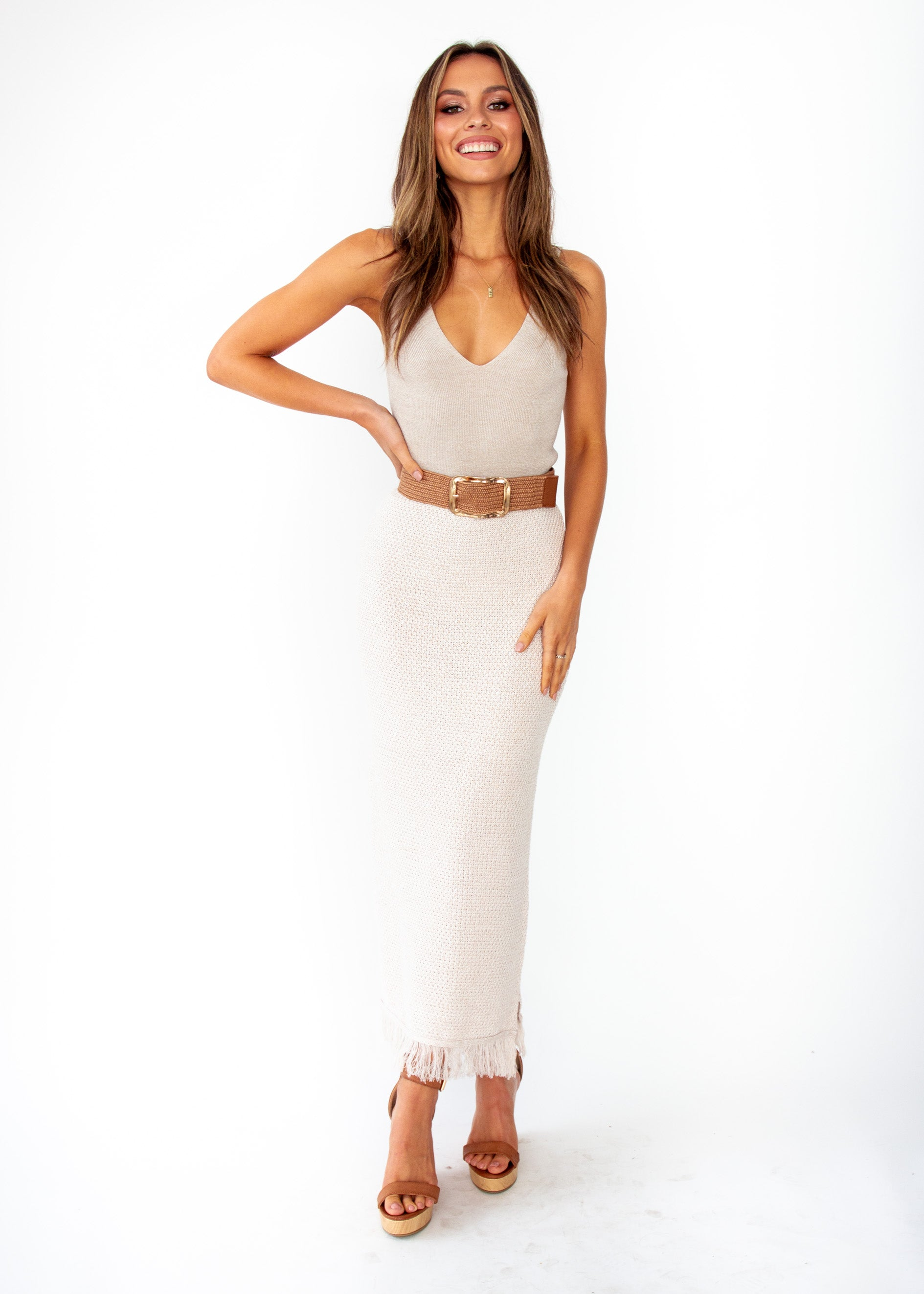 Women's Pampas Knit Maxi Skirt - Oatmeal Natural
