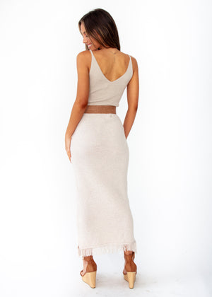 Pampas Knit Maxi Skirt - Oatmeal