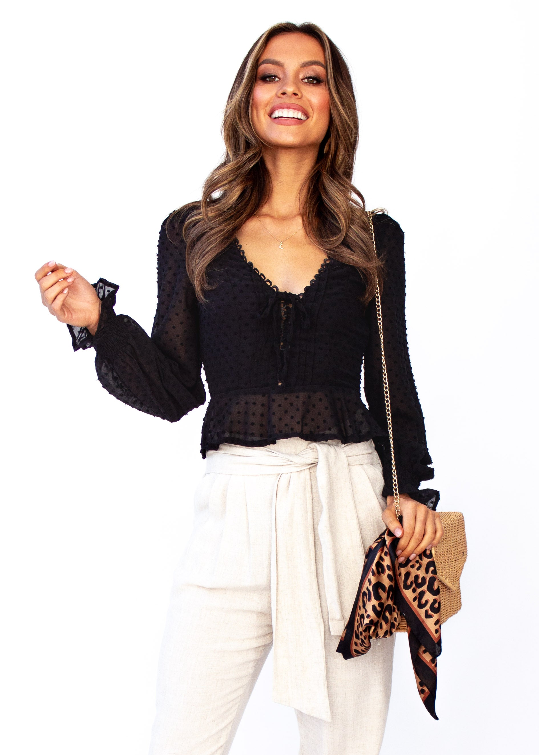 Women's Fancy This Blouse - Black