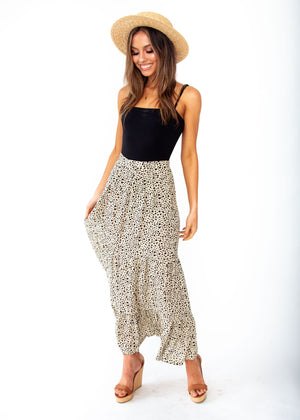 Courtney Maxi Skirt - Beige Spot Print