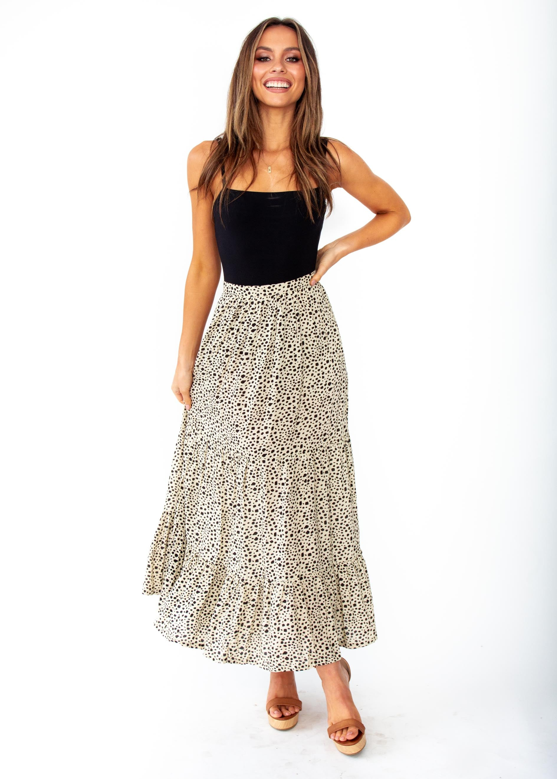 Women's Courtney Maxi Skirt - Beige Spot Print