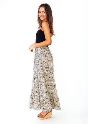 Courtney Maxi Skirt - Beige Spot