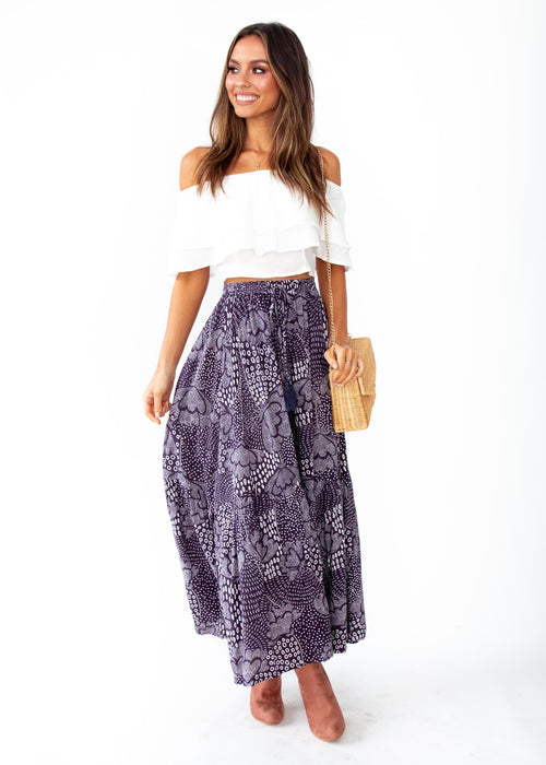 Sweet Love Maxi Skirt - Navy Twilight Print