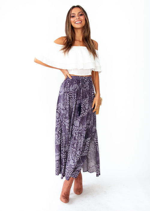 Women's Sweet Love Maxi Skirt - Navy Twilight Print