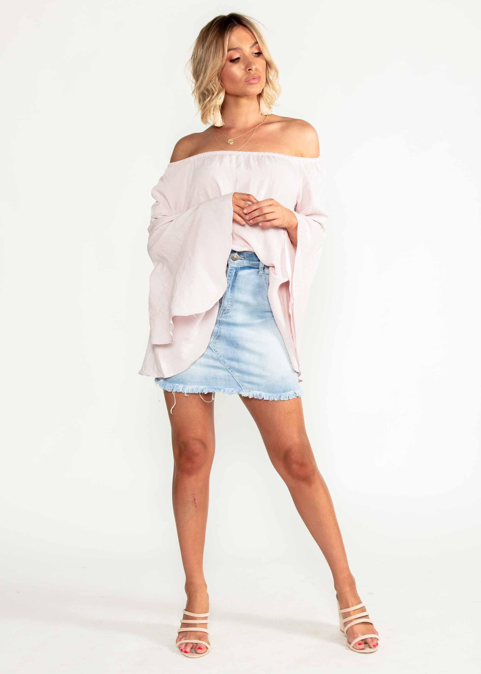 Laneway Off Shoulder Linen Top - Blush