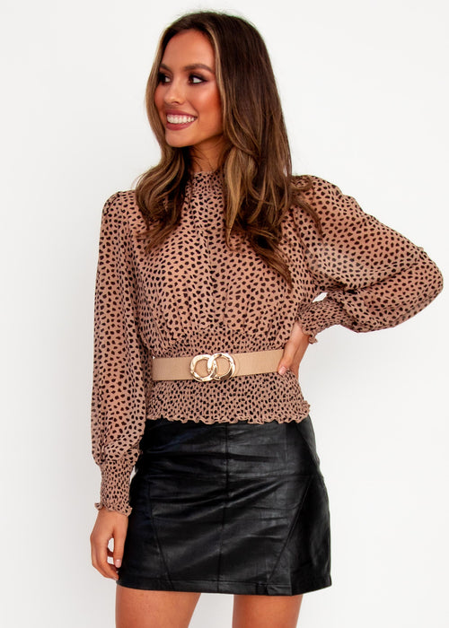 Women's Holly Cropped Blouse - Tan Spot