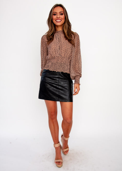 Holly Cropped Blouse - Tan Spot
