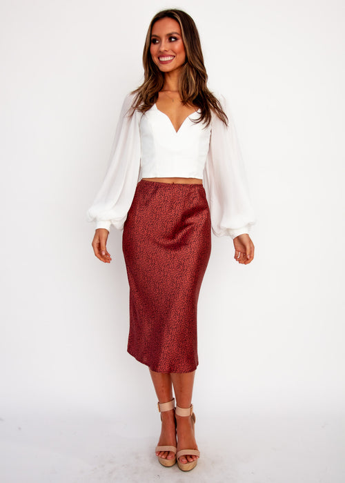 Keeping It Real Midi Skirt - Burgundy Petal