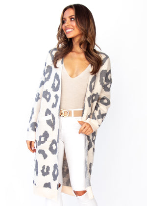 Women's Only A Moment Cardigan - Blush Leopard