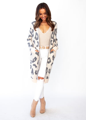 Only A Moment Cardi - Blush Leopard