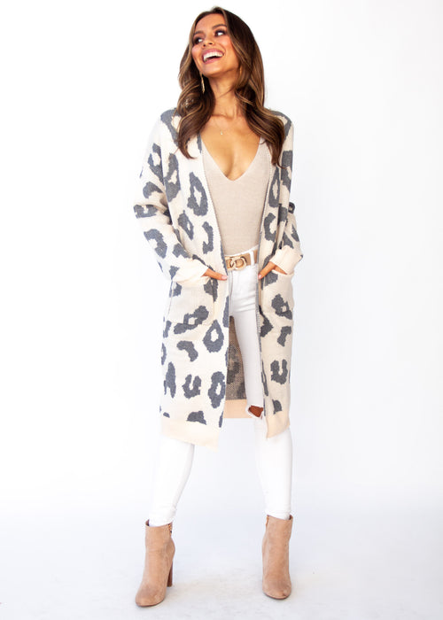 Only A Moment Cardigan - Blush Leopard