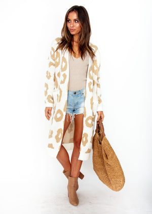 Only A Moment Cardigan - Cream Leopard