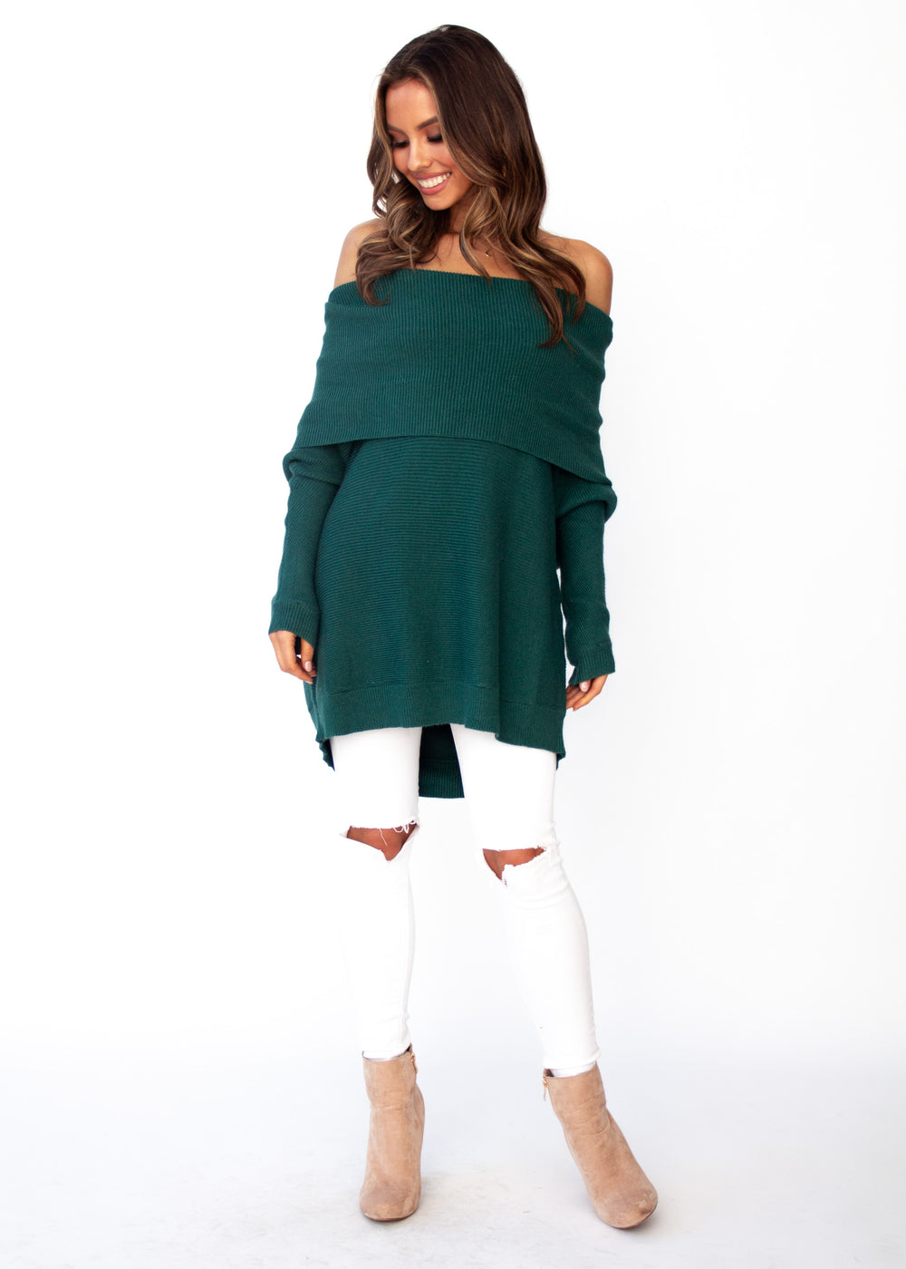 Women's Dalton Roll Neck Sweater - Emerald