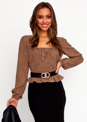 Sweet Little Lies Blouse - Mocha Leopard