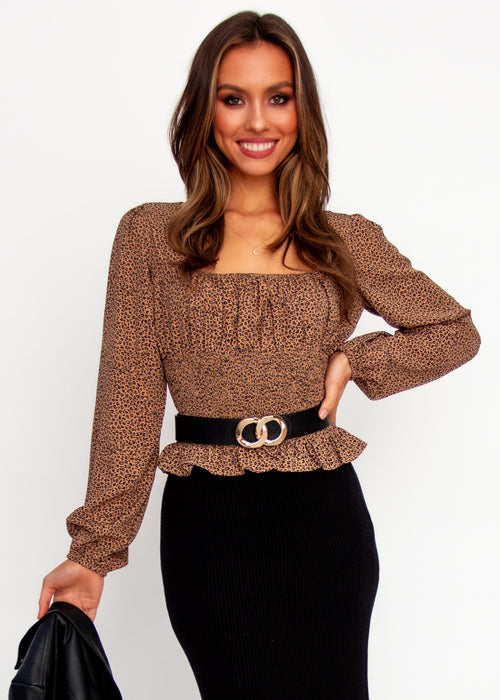 Women's Sweet Little Lies Blouse - Mocha Leopard