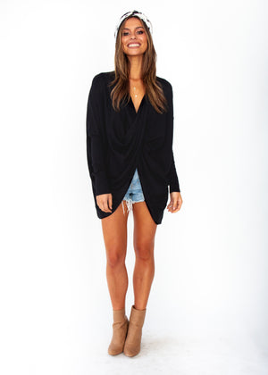 Daytona Twist Knit Top - Black