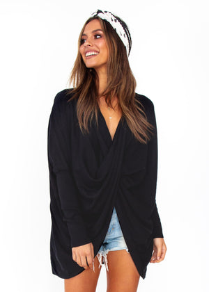 Women's Daytona Twist Knit Top - Black
