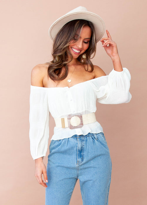 Women's Aurora Cropped Blouse - Cream