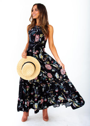 Women's Hurley Maxi Dress - Under The Stars - Black Floral Print - Jaase