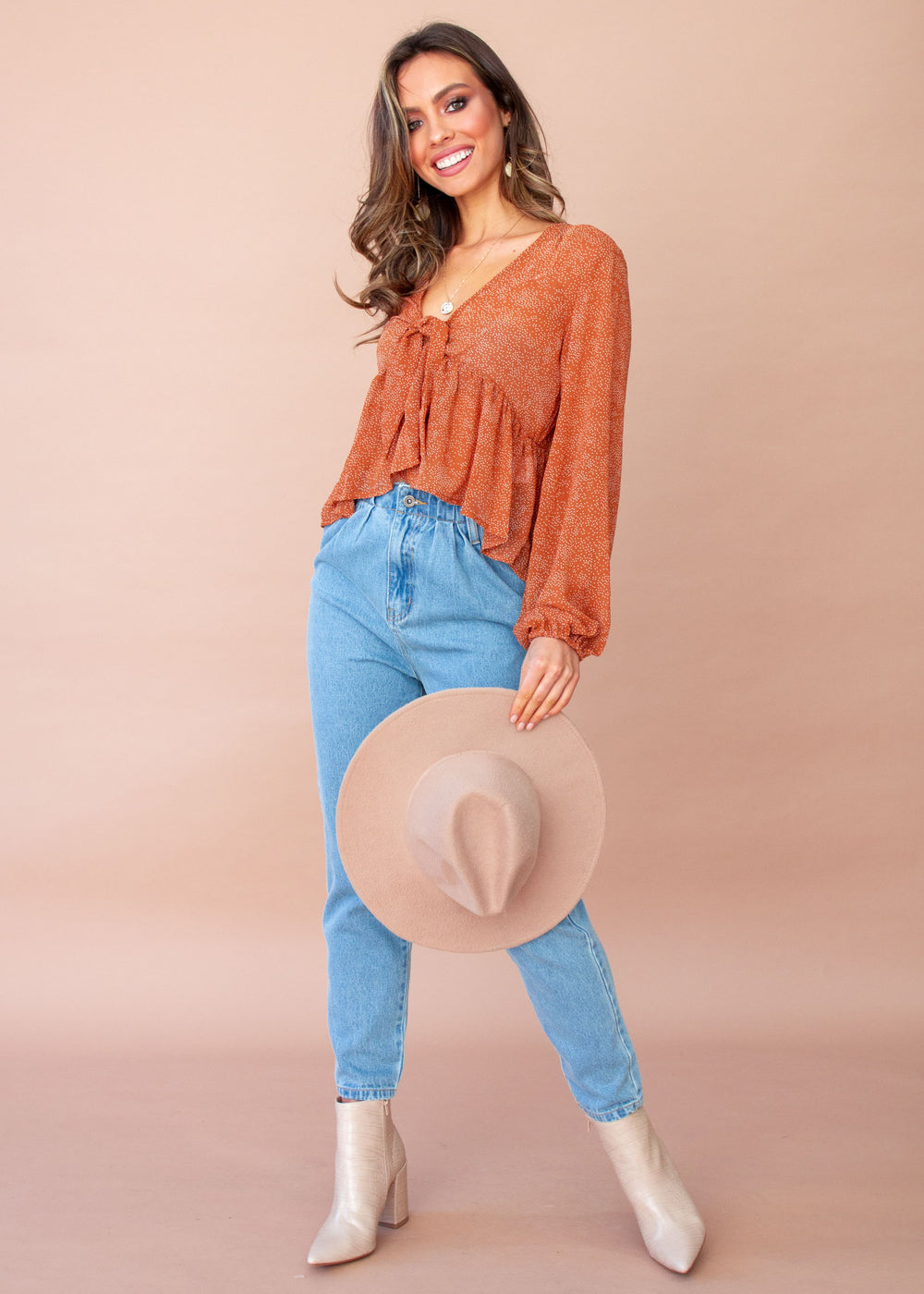 Layla Blouse - Rust Speck