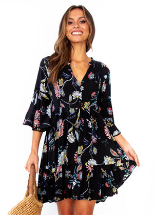 Women's Betty Swing Dress - Under The Stars - Black Floral Print - Jaase