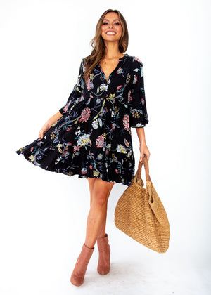 Betty Swing Dress - Under The Stars - Black Floral Print - Jaase