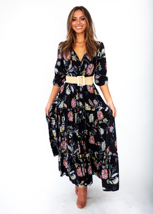 Tessa Maxi Dress - Under The Stars - Black Floral Print - Jaase