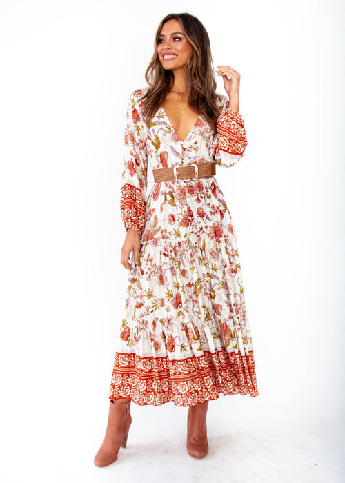Esplanade Midi Dress - Autumn - White Orange Floral Print