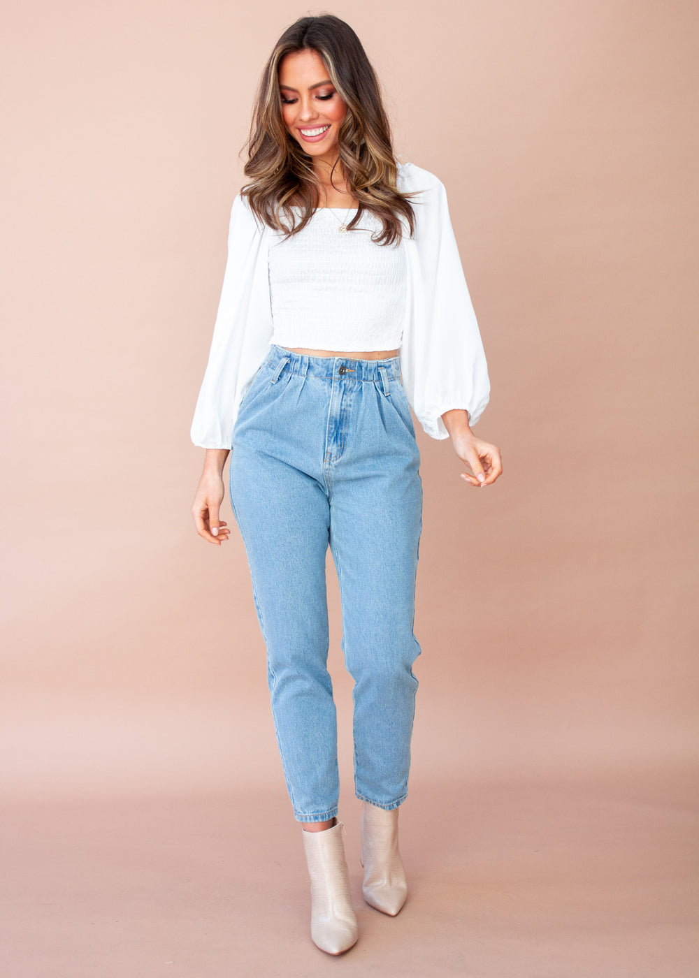Slow Ride Cropped Blouse - White