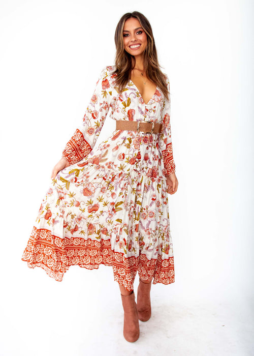 Women's Esplanade Midi Dress - Autumn - White Orange Floral Print