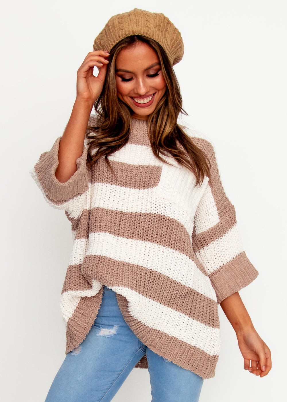 Women's Love Letter Sweater - Beige/White