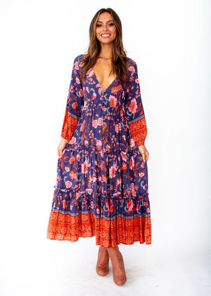 Esplanade Midi Dress - Dusk - Navy Blush Floral Print