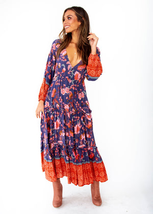 Women's Esplanade Midi Dress - Dusk - Navy Blush Floral Print