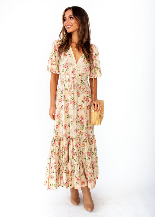 Women's Ashland Maxi Dress - Rowie - Cream Floral Print - Jaase