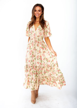 Ashland Maxi Dress - Rowie - Cream Floral Print - Jaase
