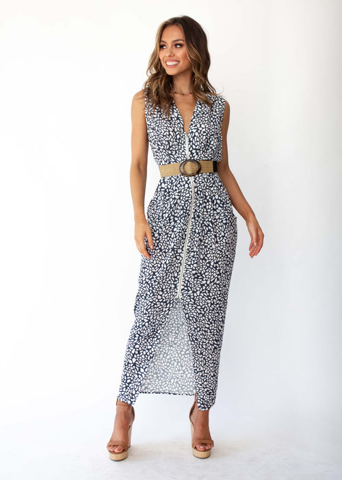 Women's Catalina Zip Maxi Dress - Charcoal Stone