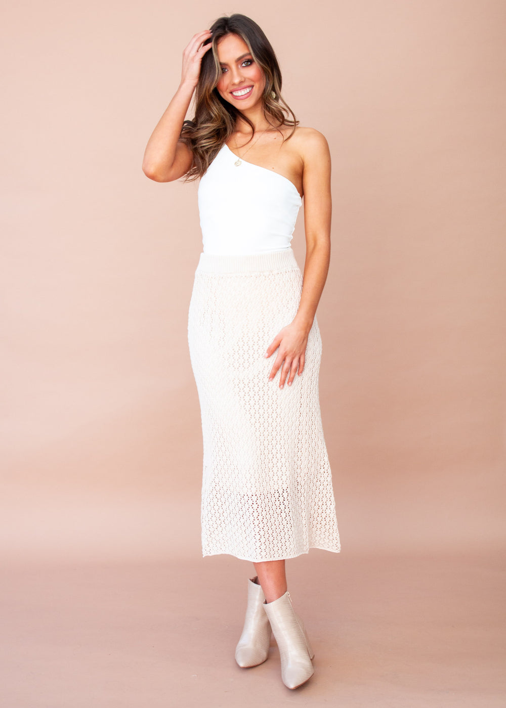 Forever Yours Knit Midi Skirt - Blush